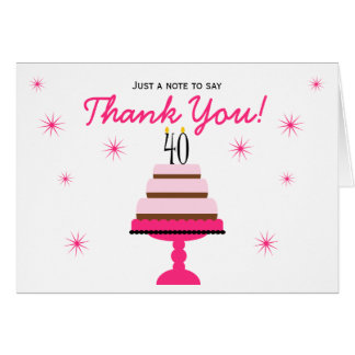 Pink Tiered Cake 40th Birthday Thank You Note Card