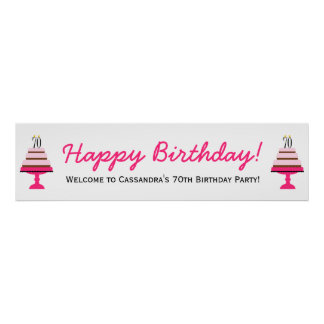 Pink Tiered Cake 70th Birthday Party Banner Poster