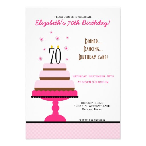 Pink Tiered Cake 70th Birthday Party Invitation