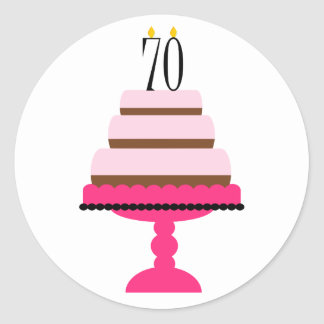 Pink Tiered Cake 70th Birthday Stickers