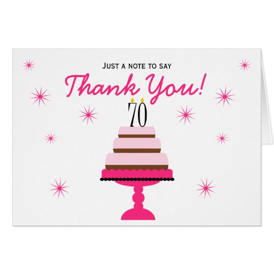 Pink Tiered Cake 70th Birthday Thank You Note