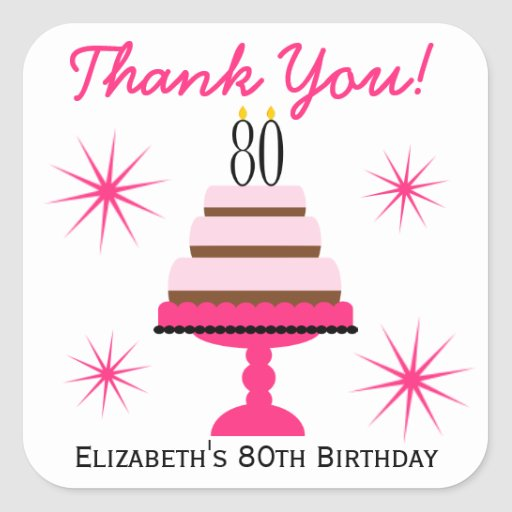 Pink Tiered Cake 80th Birthday Favor Stickers