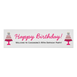 Pink Tiered Cake 90th Birthday Party Banner Poster