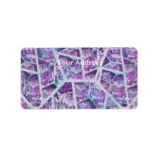 Pink Tiger Repeat Collage Address Label