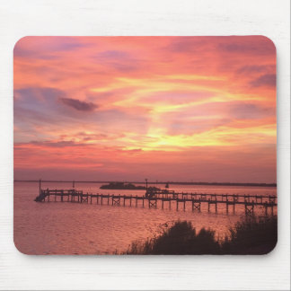 Pink Tiki Island Sunset Mousepad