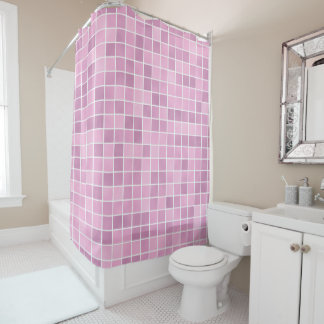 Pink Tile Shower Curtain