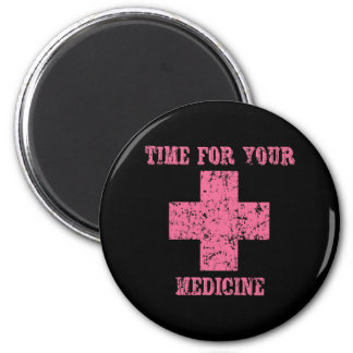 Pink Time for your Medicine 6 Cm Round Magnet