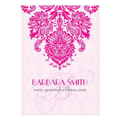 Pink Tint Damasks Hot Pink Floral Ornament Business Card Templates