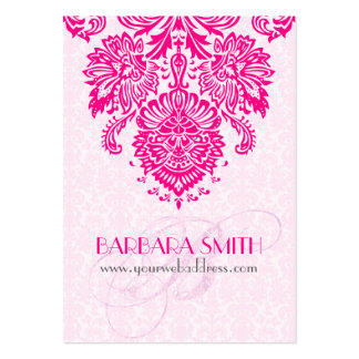Pink Tint Damasks Hot Pink Floral Ornament Pack Of Chubby Business Cards