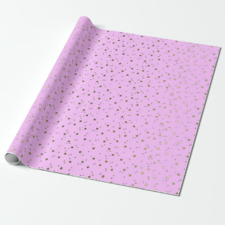 Pink Tiny Golden Stars Wrap Paper