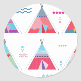pink tipi classic round sticker