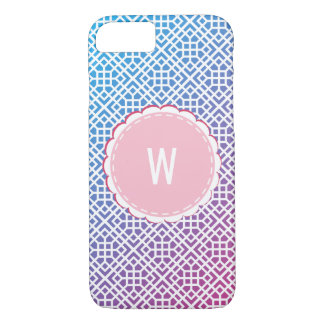 Pink to Blue Color Gradient Pattern with Monogram iPhone 8/7 Case