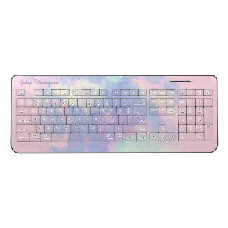 pink to lilac watercolor wireless keyboard