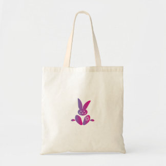 Pink to Purple Sitting Smiling Easter Bunny Tote Bag