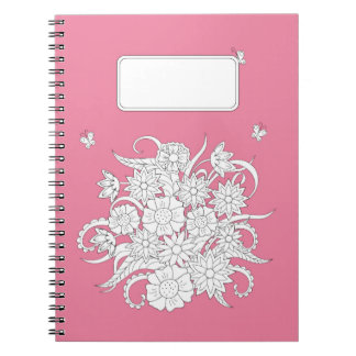 pink to summer bouquet spiral note book