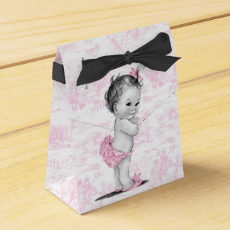 Pink Toile Baby Shower Favor Boxes