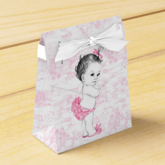 Pink Toile Girl Baby Shower Favour Box