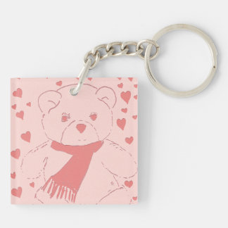 Pink Toned Teddy Bear Double-Sided Square Acrylic Key Ring
