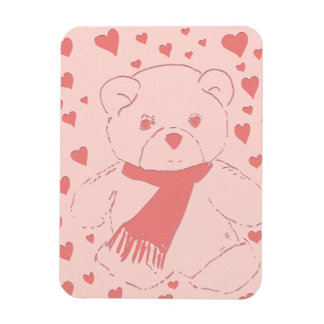 Pink Toned Teddy Bear Rectangle Magnet