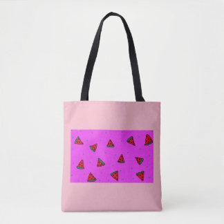 pink tote bag watermelon design