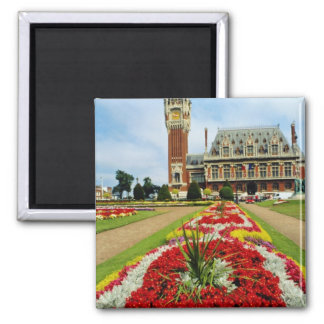 Pink Town Hall, Calais, France flowers Square Magnet