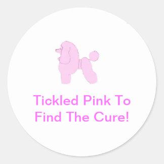 Pink Toy Poodle Round Sticker