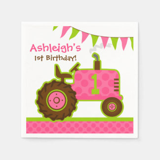 Pink Tractor 1st Birthday Paper Napkins