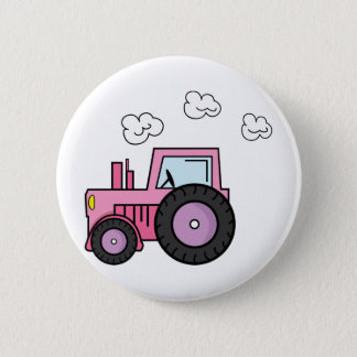 Pink Tractor 6 Cm Round Badge