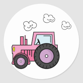 Pink Tractor Classic Round Sticker