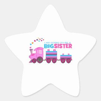 Pink Train Big Sister Star Sticker