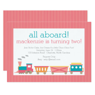 Pink Train Birthday Invitation