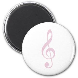 Pink Treble Clef 6 Cm Round Magnet