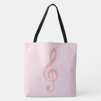 pink treble clef on very pale-pink tote bag