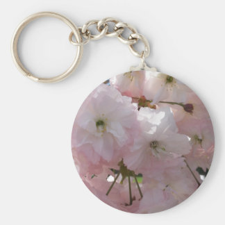 Pink Tree Blossom Basic Round Button Key Ring