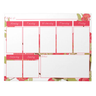 Pink Tree Blossoms Weekly Calendar Notepad