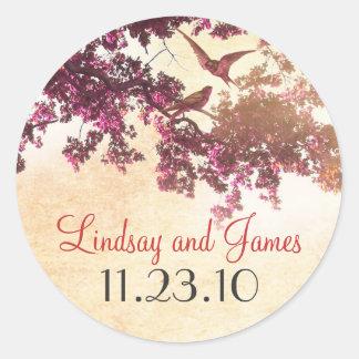 pink tree love birds wedding stickers