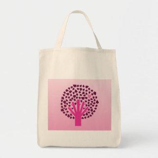Pink Tree Tote Grocery Tote Bag