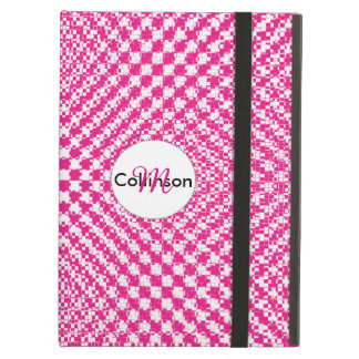 Pink Trendy Herringbone Check Pattern Personalized Cover For iPad Air