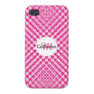Pink Trendy Herringbone Check Pattern Personalized Cover For iPhone 4