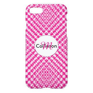 Pink Trendy Herringbone Check Pattern Personalized iPhone 7 Case