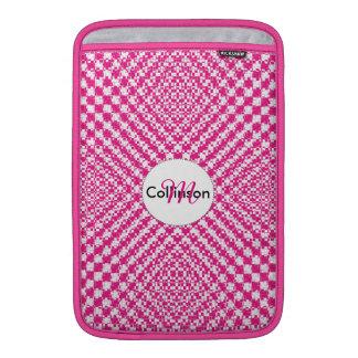 Pink Trendy Herringbone Check Pattern Personalized Sleeve For MacBook Air