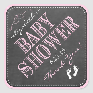 Pink Tri-Angled Chalkboard Look- Baby Shower Square Sticker