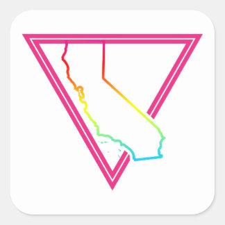 pink triangle california square sticker