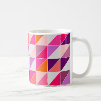 Pink triangle mosaic wrapping surface design coffee mug