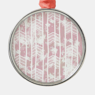 Pink Tribal Leaf Aztec Pattern Silver-Colored Round Decoration