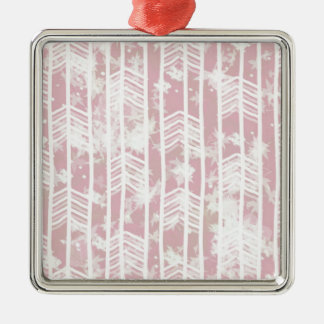 Pink Tribal Leaf Aztec Pattern Silver-Colored Square Decoration