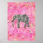 Pink Tribal Paisley Elephant Henna Pattern