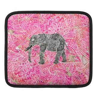 Pink Tribal Paisley Elephant Henna Pattern iPad Sleeve