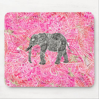 Pink Tribal Paisley Elephant Henna Pattern Mouse Mat