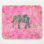 Pink Tribal Paisley Elephant Henna Pattern Mouse Pad
